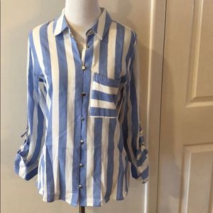 Soft Surroundings Striped Button Down Top